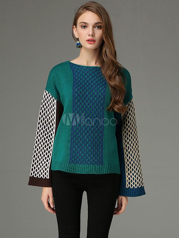 Green Pullover Sweater Bateau Neck Long Sleeve Color Block Quilted Comfy Knit Top For Women Cheap clothes, free shipping worldwide