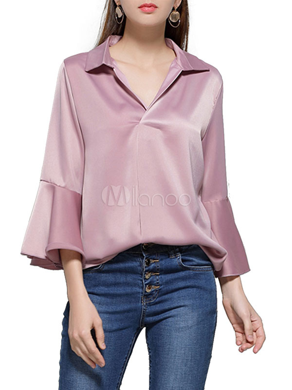 Buy Pink Women's Blouses V Neck Bell Sleeve Satin Top for $23.74 in Milanoo store