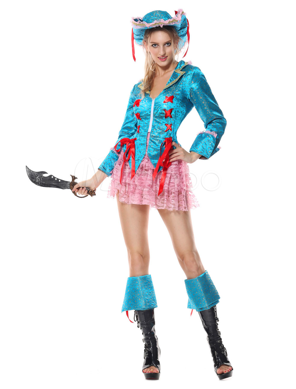 Buy Pirate Costume Halloween Blue Women Long Sleeve Dresses Costume Outfit for $33.59 in Milanoo store