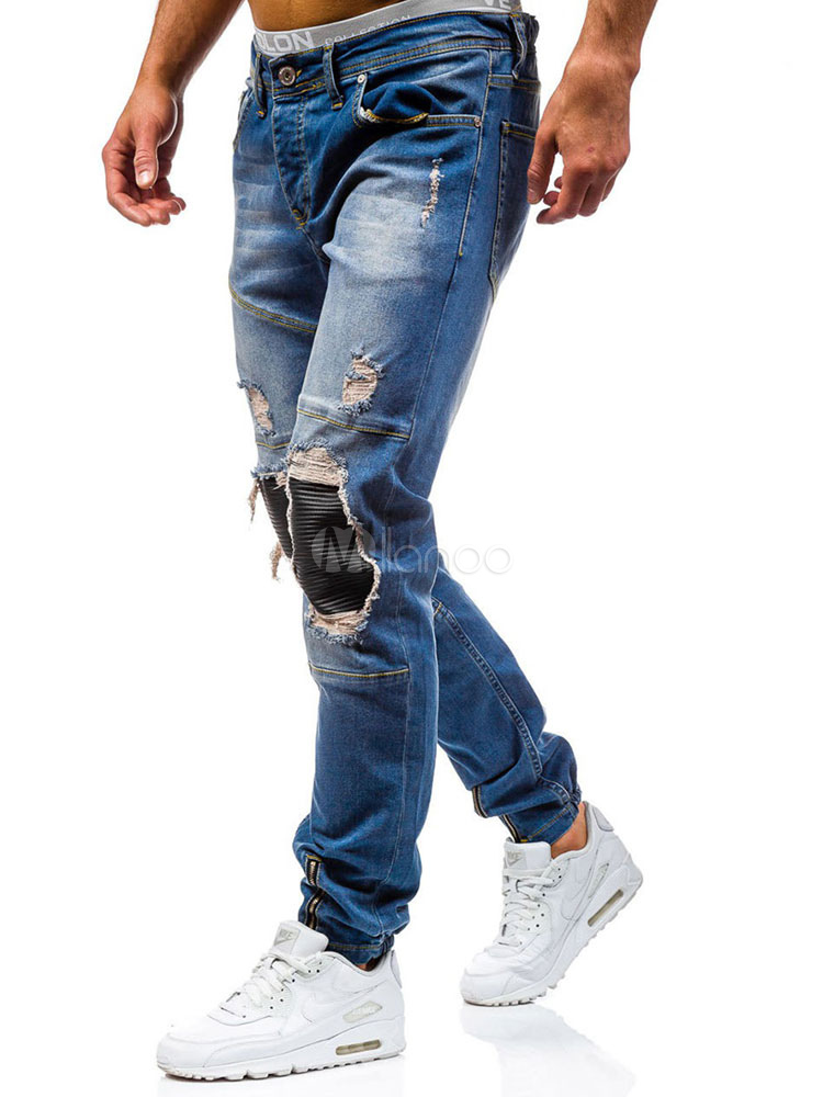 Buy Blue Denim Jeans Distressed Patchwork Straight Long Jeans For Men for $42.57 in Milanoo store