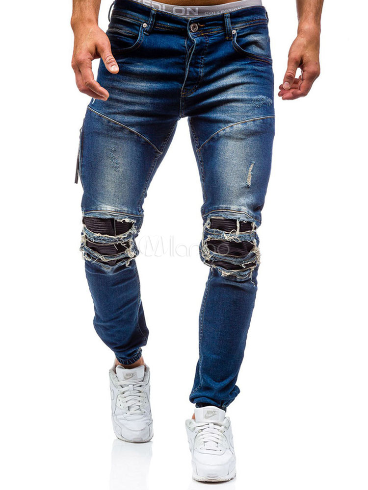 Blue Denim Jeans Cowboy Straight Leg Long Ripped Jeans For Men