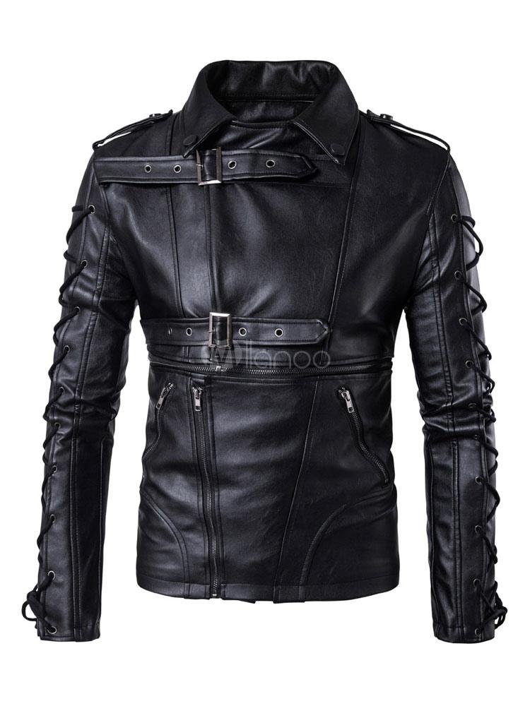 Black Moto Jackets Plus Size Men Turndown Collar Long Sleeve Buckle Detail Lace Up Short Jackets