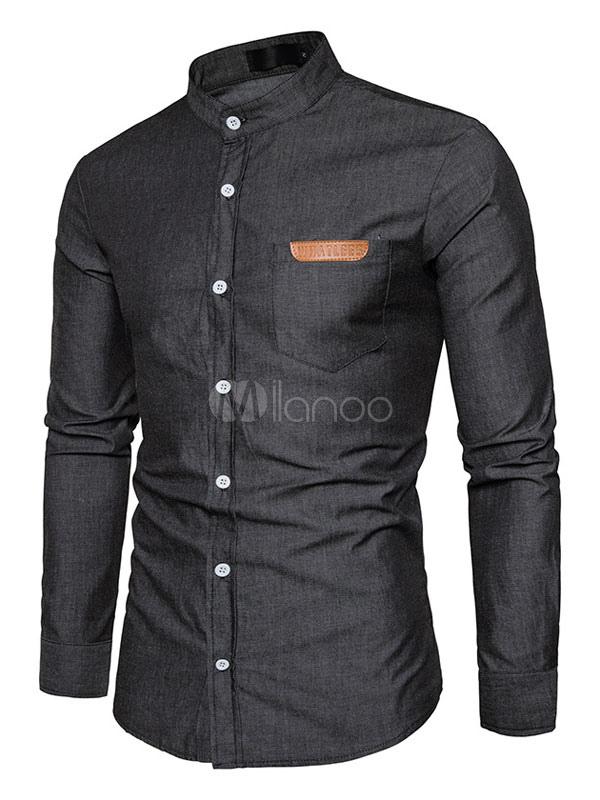 Black Casual Shirt Men's Long Sleeve Stand Collar Regular Fit Shirts