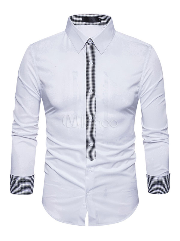 Men Casual Shirt White Turndown Collar Patchwork Button Long Sleeve Shirts