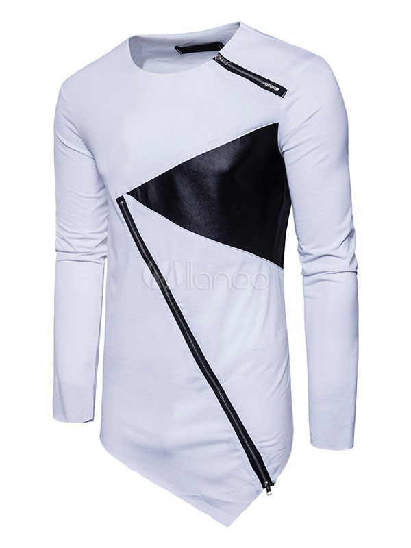 White Men T Shirt Two Tone Irregular Design Long Sleeved Spring Top