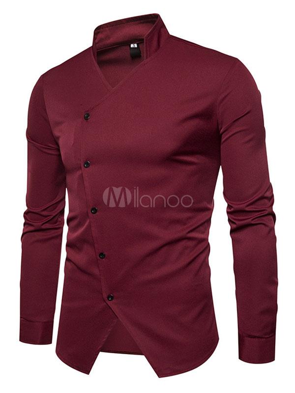 Buy Burgundy Men Shirt V Neck Long Sleeve Irregular Button Surplice Spring Shirt Casual for $23.74 in Milanoo store