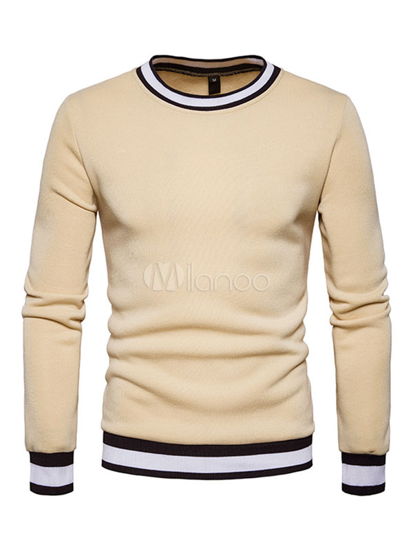 Buy Khaki Pullover Sweatshirt Round Neck Long Sleeve Color Block Men's Top for $23.74 in Milanoo store