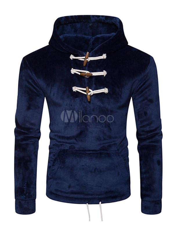 Dark Navy Hoodie Hooded Long Sleeve Buttons Flannel Men's Sweatshirt