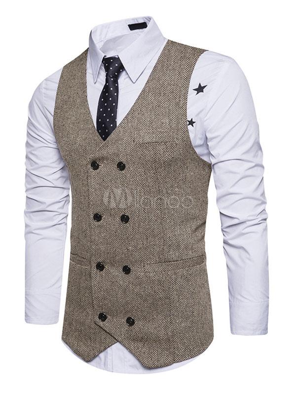Khaki Men Waistcoat V Neck Business Casual Double Breasted Regular Fit Tuxedo Vest