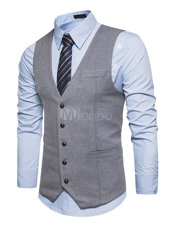 Men Suit Vest V Neck Button Pocket Regular Fit Light Grey Waistcoat