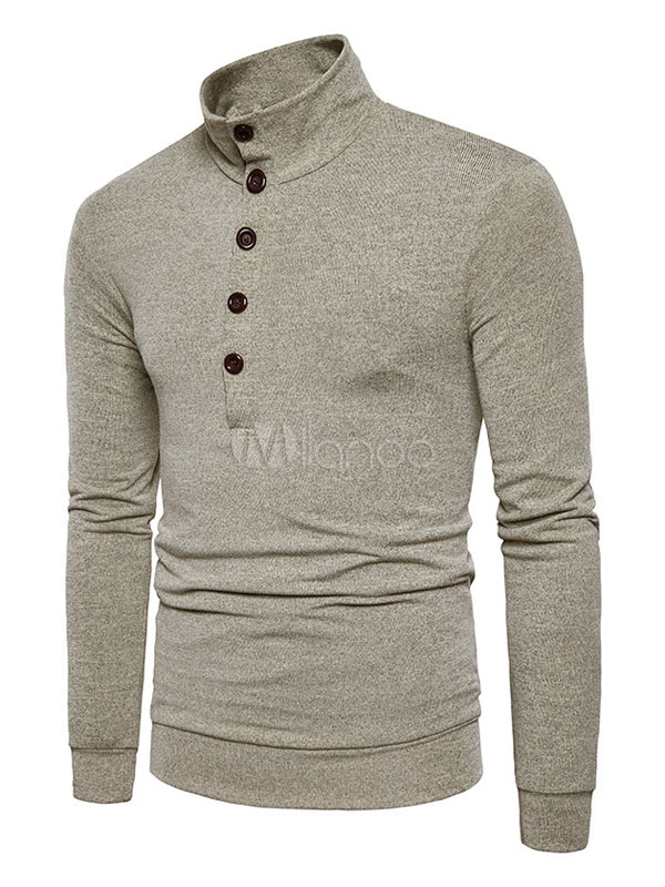 Khaki Pullover Sweater Men's High Collar Long Sleeve Regular Fit Knit Sweater