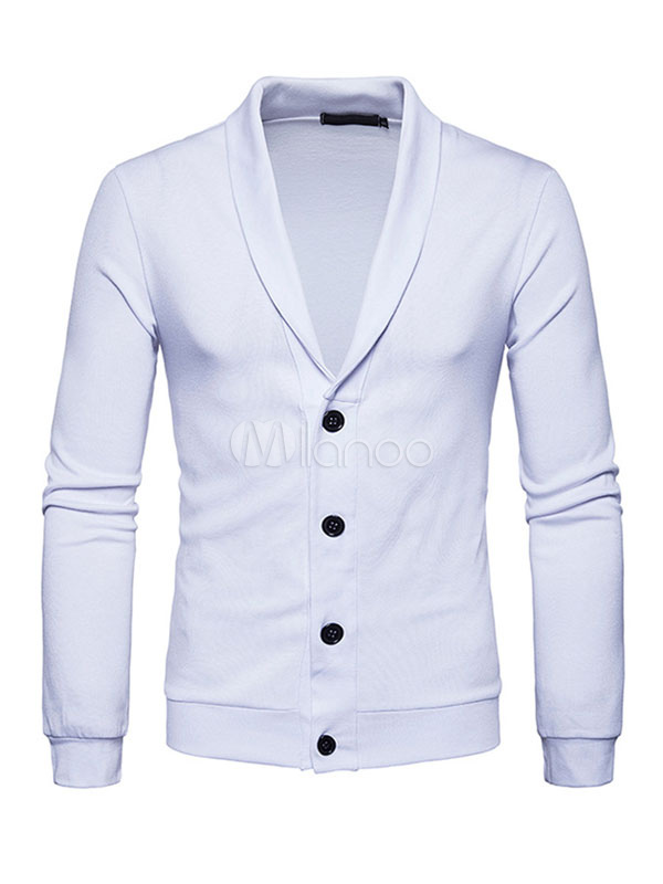 White Cardigan Sweater Men's Turndown Collar Long Sleeve Regular Fit Cotton Top With Buttons