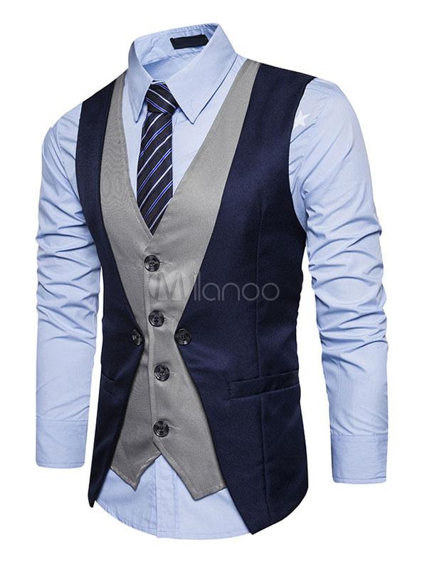 Dark Navy Waistcoat V Neck Two Tone Fake Two Piece Style Men'S Vest Suit