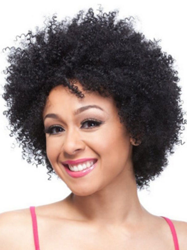 Black Afro Wigs Tousled Deep Wave Curly Women s Short Wigs - Milanoo.com 692a3a793