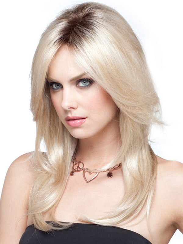 Long Blonde Wigs Women's Central Parting Layered Straight Synthetic Wigs