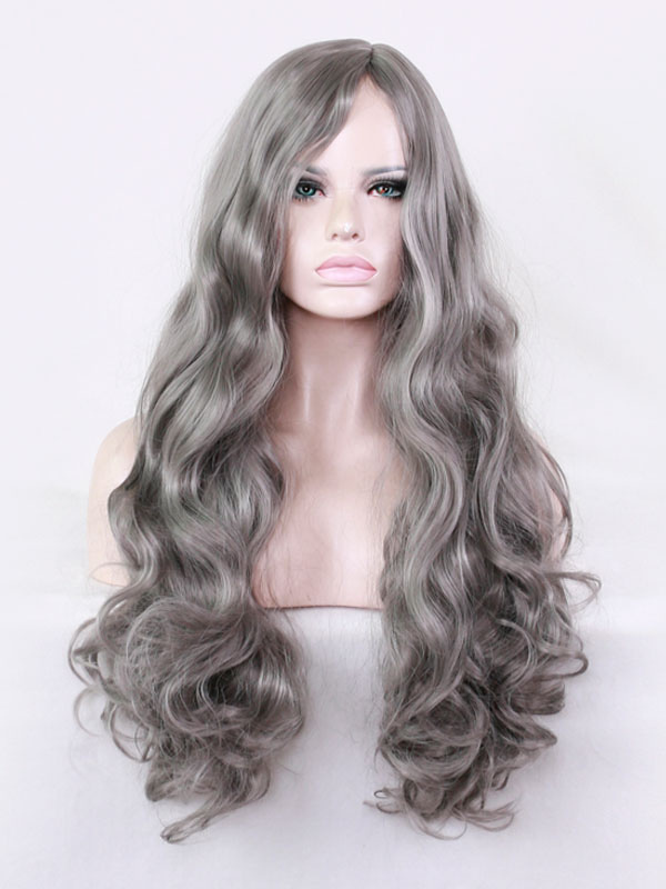 Buy Granny Hair Wigs Side Parting Barrel Curls Tousled Long Grey Wigs for $18.39 in Milanoo store