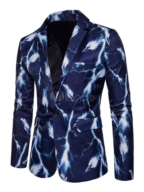 Men Casual Blazer Long Sleeve Turndown Collar Leaf Print Blue Dress Suit