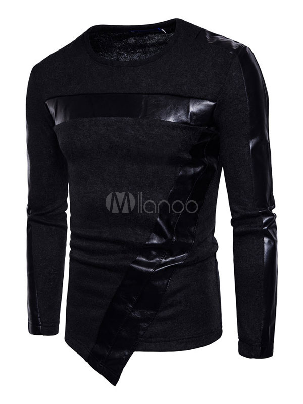 Black Pullover Sweater Men's Round Neck Long Sleeve Regular Fit Cotton Top