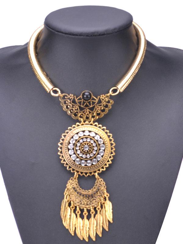 Ethnic Statement Necklace Metal Details Embossed Fringes Rhinestones Women's Golden Necklace