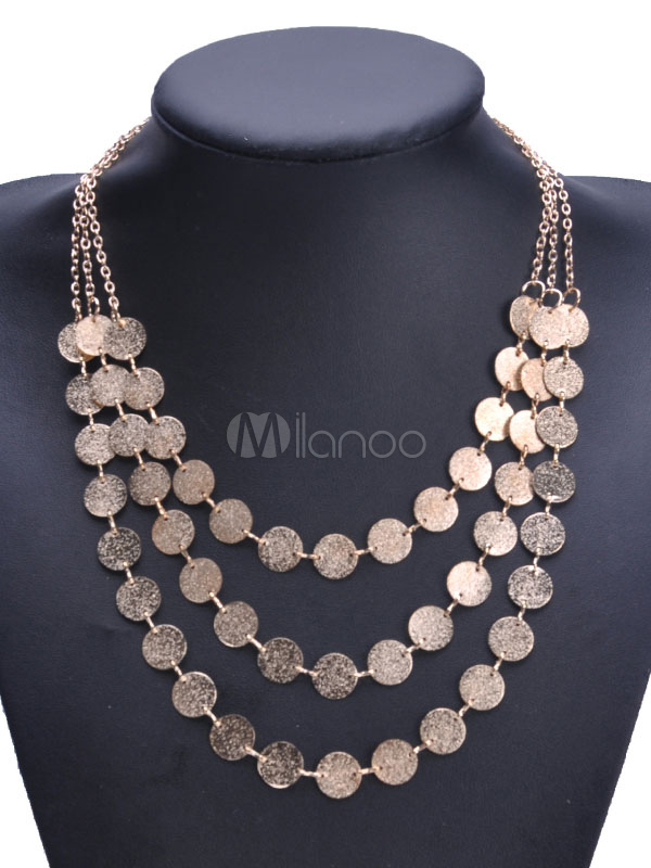 Buy Women's Statement Necklace Metal Details Multi Layered Club Necklace for $3.39 in Milanoo store