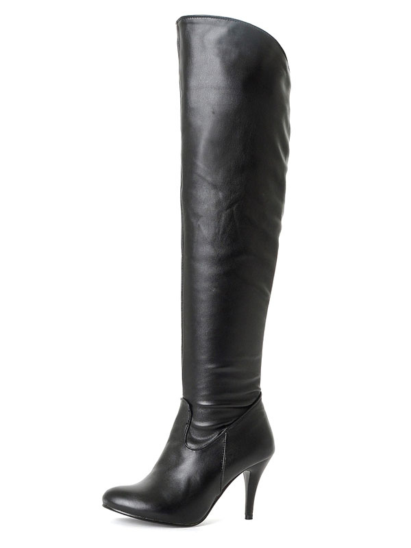 Black Thigh High Boots High Heel Women's Pointed Toe PU Over Knee Boots