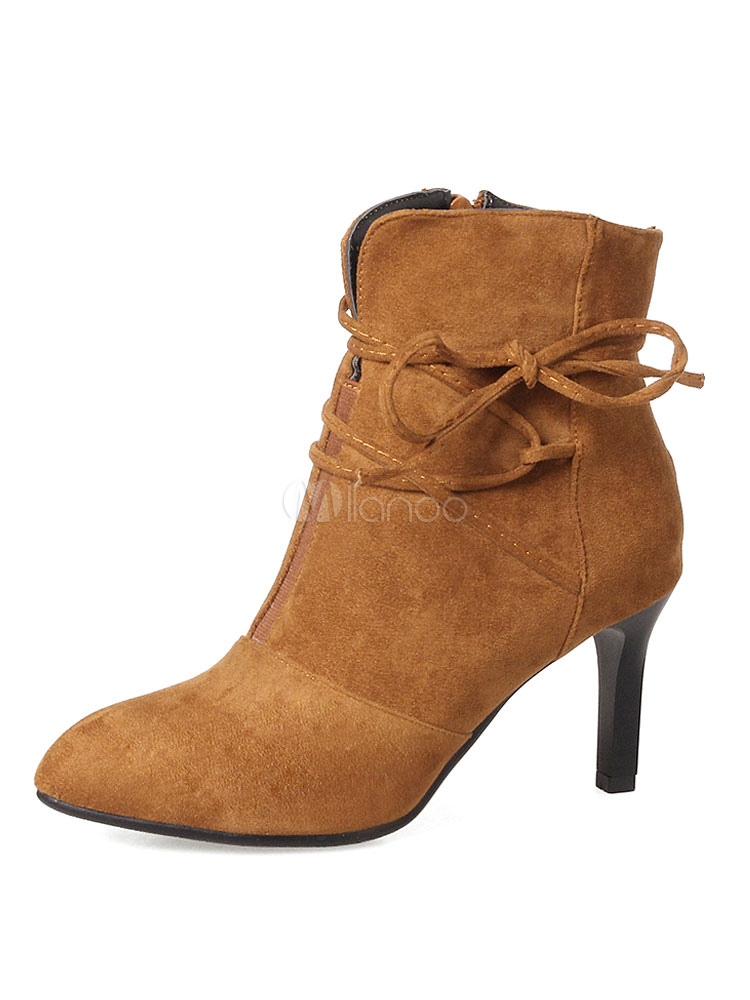 Brown Ankle Boots Pointed Toe Stiletto Heel Suede Women's Booties