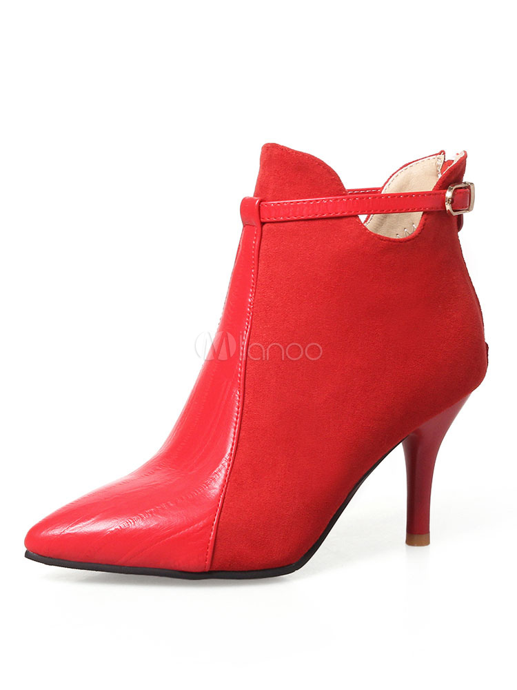 Red Ankle Boots Women's Pointed Toe Stiletto Heel Suede PU Buckled Booties