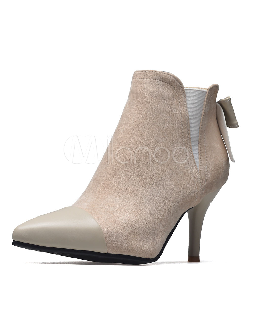 Women's Ankle Boots Pointed Toe Kitten Heel Suede PU Patchwork Bows Slip On Booties