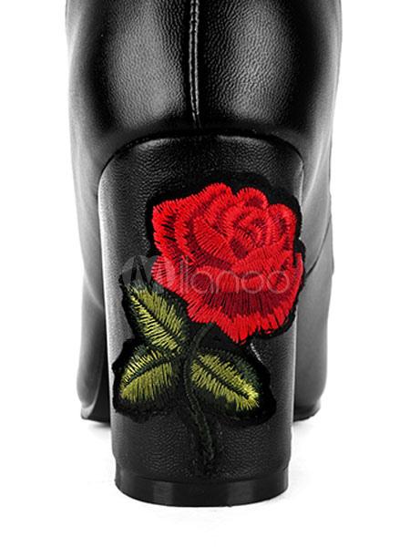 Sobre las botas de la rodilla Negro de las mujeres punteadas botas de muslo bordado floral de altura 4qTCYMFs