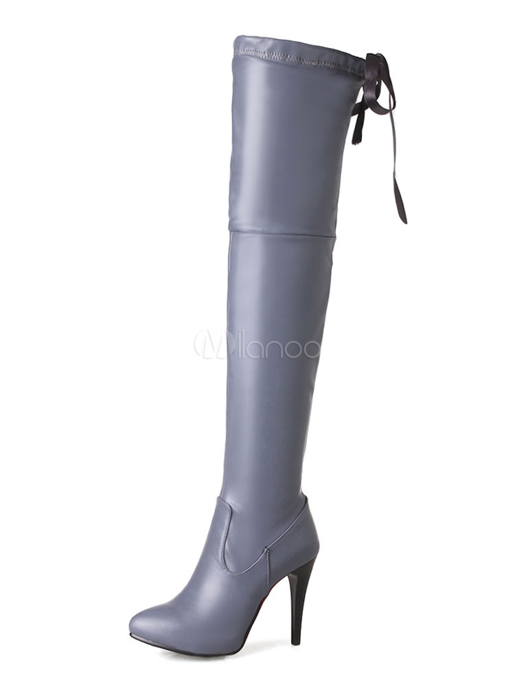 Over Knee Boots High Heel Grey Pointed Toe Lace Up Winter Boots For Women