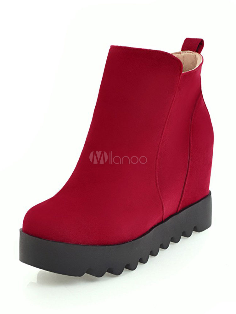 Buy Winter Ankle Boots Women's Red Flat Round Toe Suede Booties for $28.49 in Milanoo store