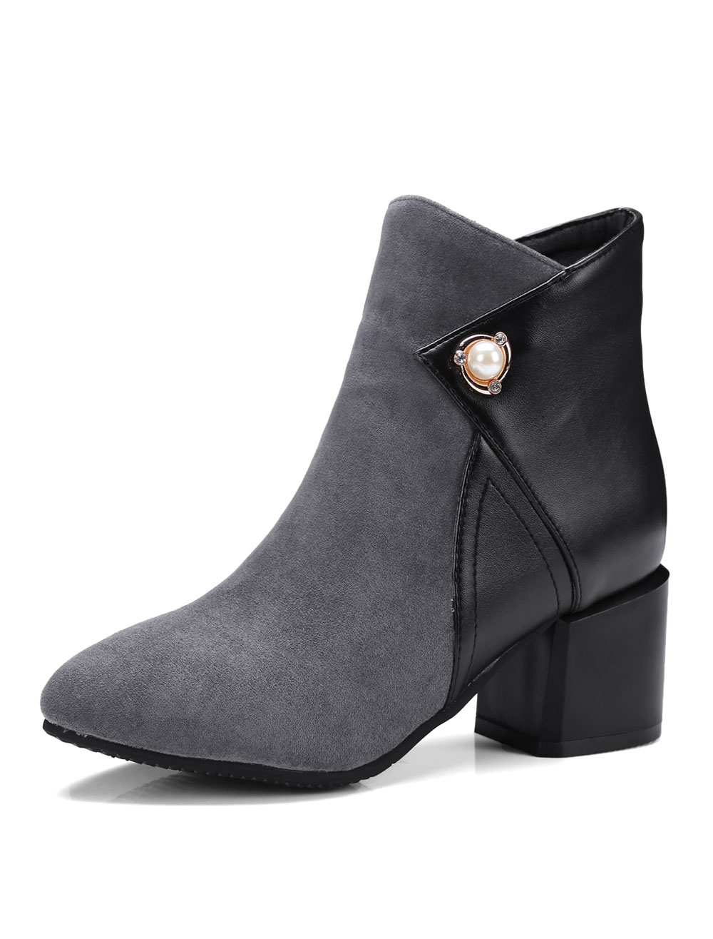 Buy Grey Ankle Boots Pointed Toe Chunky Heel Two Tone Suede Pearls Winter Booties For Women for $35.99 in Milanoo store