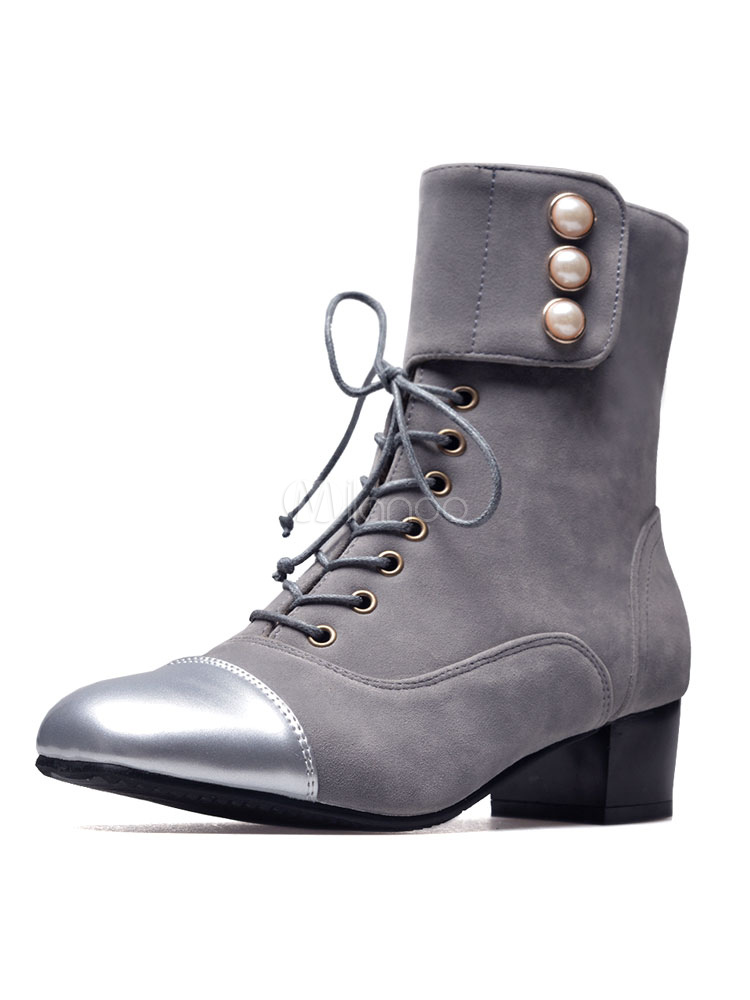 Buy Grey Ankle Boots Lace Up Square Toe Chunky Heel Suede PU Winter Booties For Women for $33.24 in Milanoo store