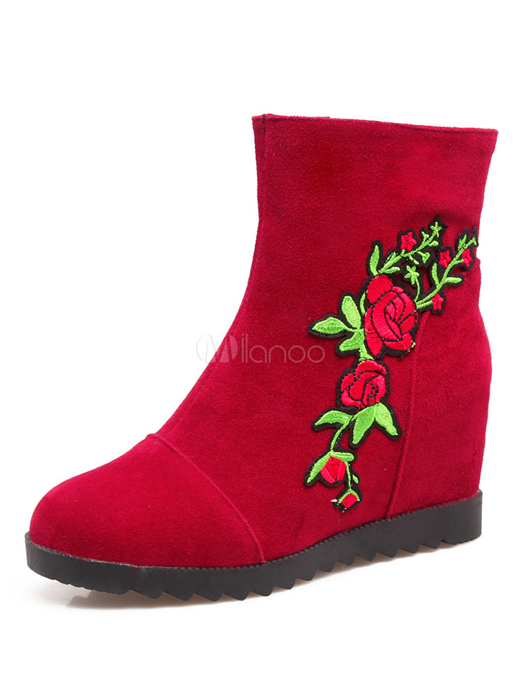 Buy Red Ankle Boots Flat Round Toe Embroidered Suede Women's Slip On Booties For Winter for $28.49 in Milanoo store