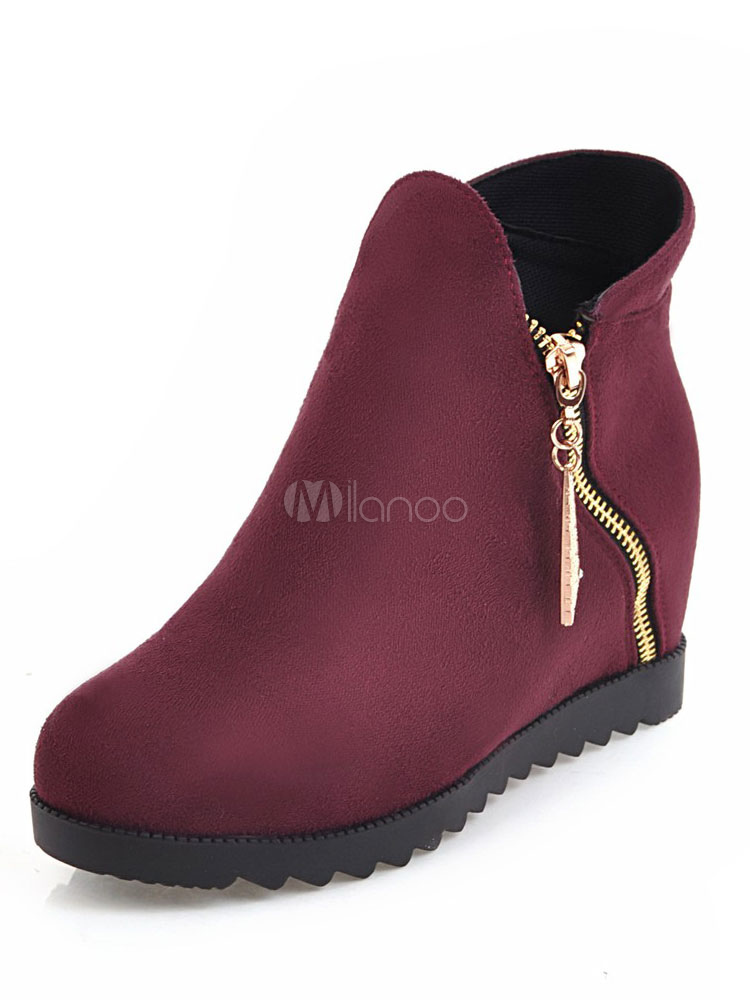Buy Women's Ankle Boots Flat Round Toe Suede Zipper Slip On Winter Booties for $33.24 in Milanoo store