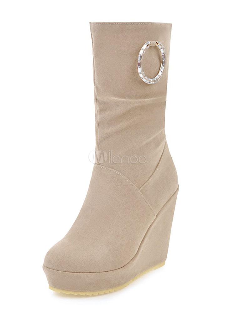 d46b0639b930 Winter Women s Boots Wedge Heel Round Toe Metal Details Slip On Mid Calf  Boots-No ...