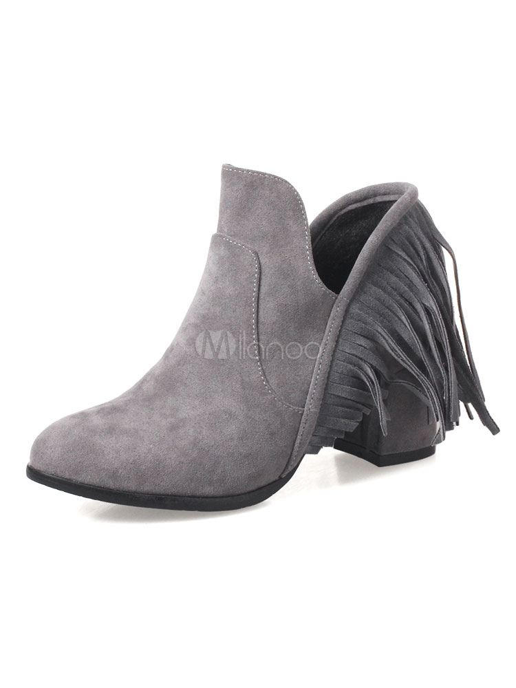 Buy Grey Ankle Boots Round Toe Chunky Heel Suede Fringe Slip On Women's Booties for $34.19 in Milanoo store
