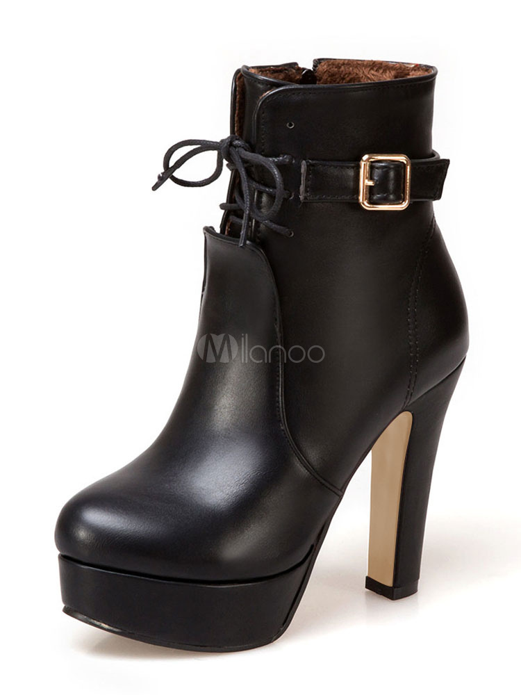 Women's Black Booties Round Toe Buckled Zipper Up Platform Chunky High Heel Ankle Boots