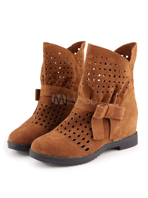 Buy Women's Ankle Boots Round Toe Flat Suede Cut Out Bows Brown Winter Booties for $35.99 in Milanoo store