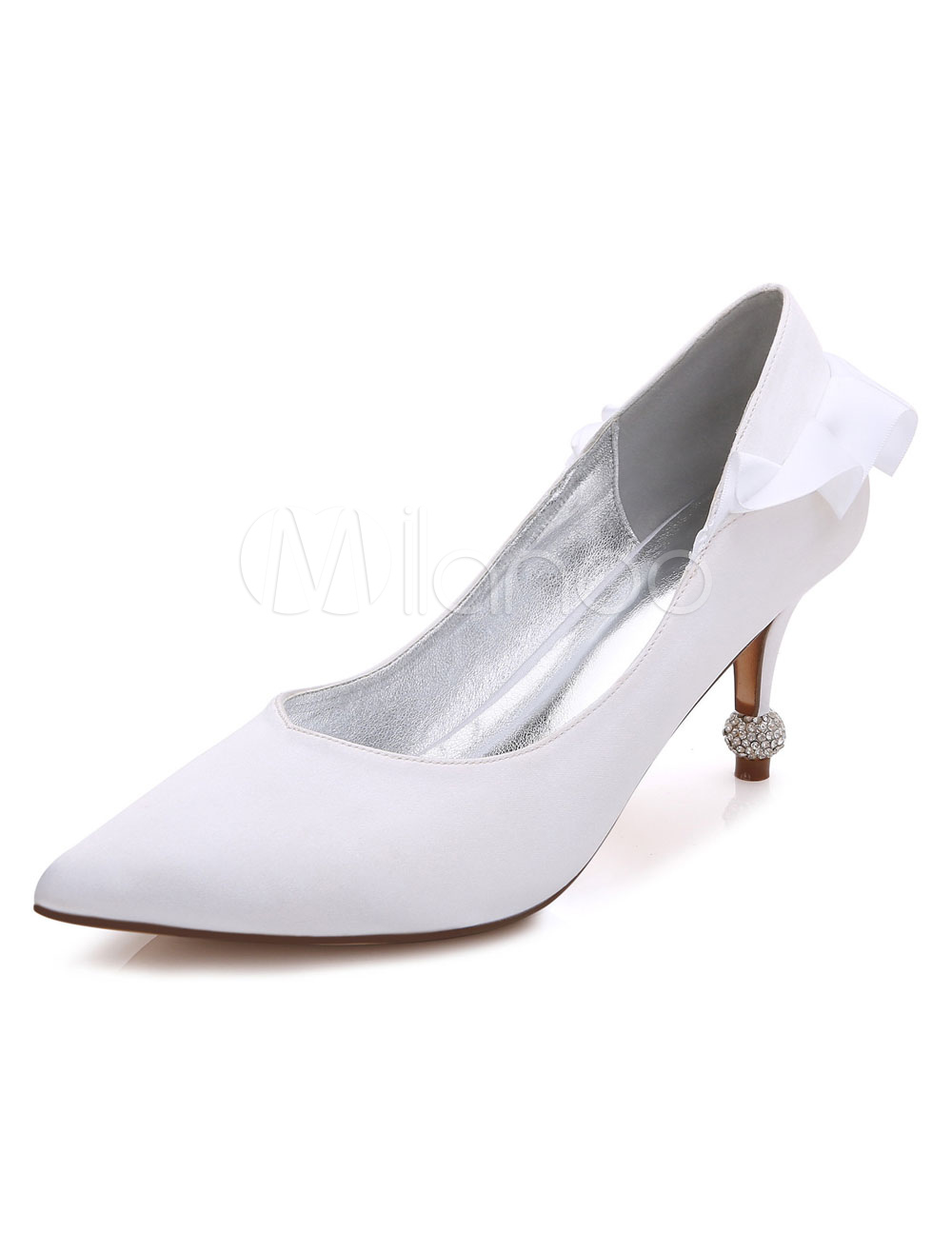 Buy White Wedding Shoes High Heel Satin Pointed Toe Ruffle Slip On Bridal Pumps for $47.69 in Milanoo store
