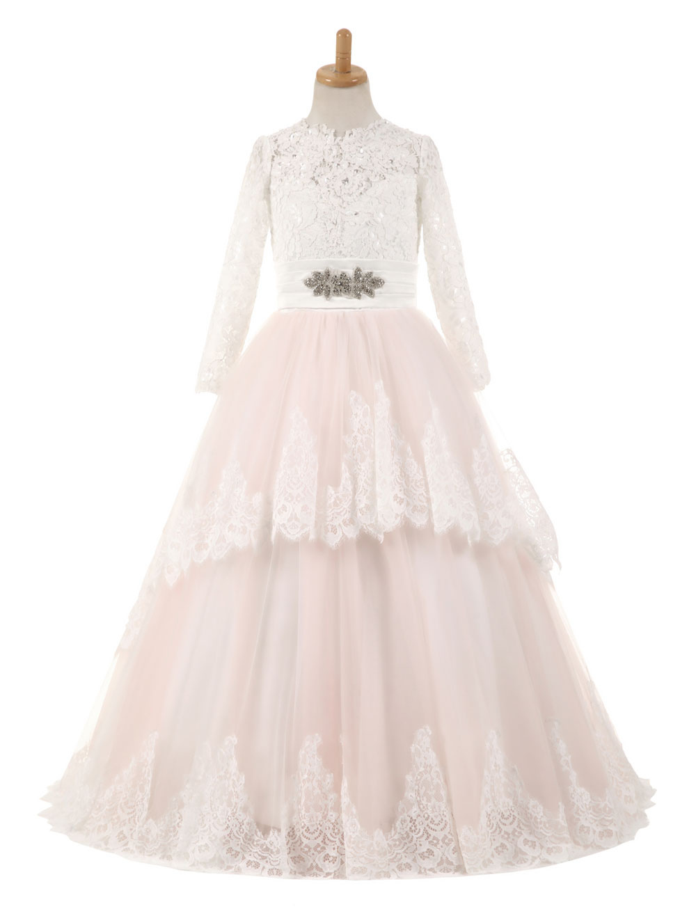 Flower Girl Dresses Lace Tulle Bows Satin Pageant Dresses Round Neck Long Sleeve Sash Blush Pink Floor Length Party Dress