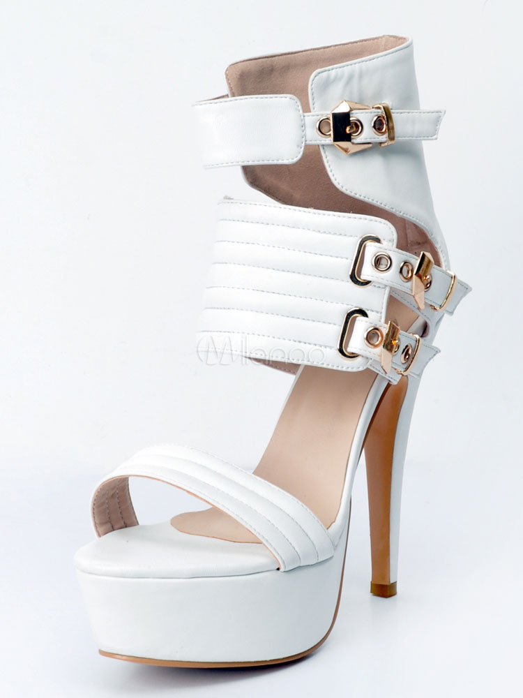 Buy White Sexy Shoes Women's Platform Open Toe Buckle Detail High Heel Sandals for $61.74 in Milanoo store