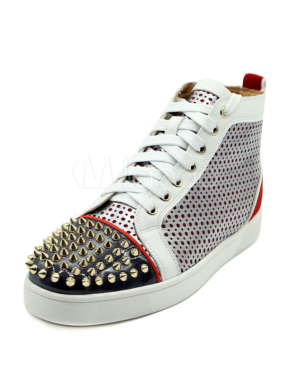 Buy White Men's Sneakers Round Toe Lace Up Flat PU Rivets Skater Shoes for $85.49 in Milanoo store