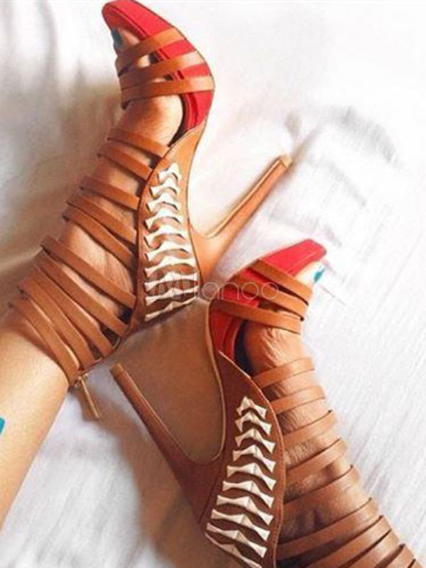 Women's Gladiator Sandals High Heel Orange Open Toe Strappy Sandals