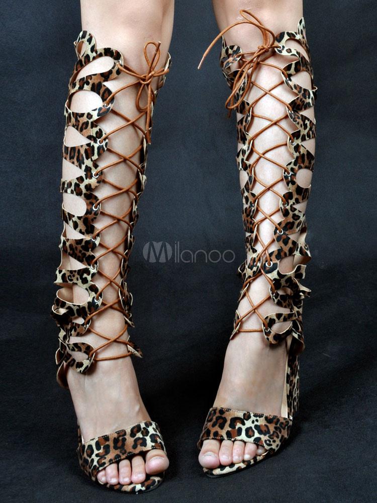 48ec3f38670a Women s Gladiator Sandals Leopard Open Toe Lace Up Wedge Sandals ...