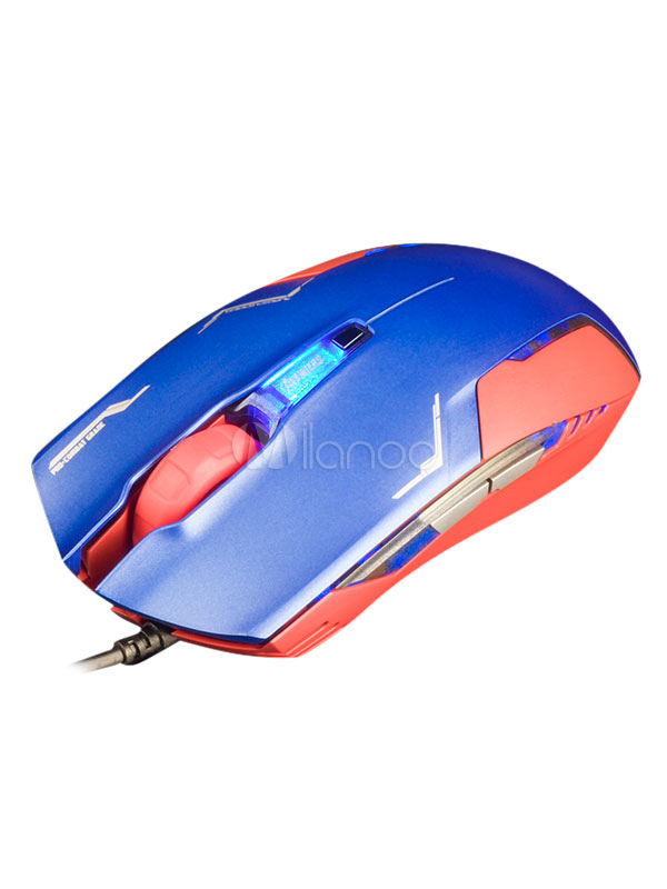 Captain American Mouse Matte Body Geometry 4 DPIs Optical Engine Blue Anime Gaming Mouse