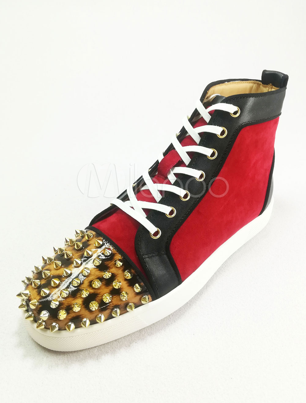 Buy Burgundy Skate Shoes Leather Round Toe Rivets Lace Up High Top Sneakers For Men for $85.49 in Milanoo store