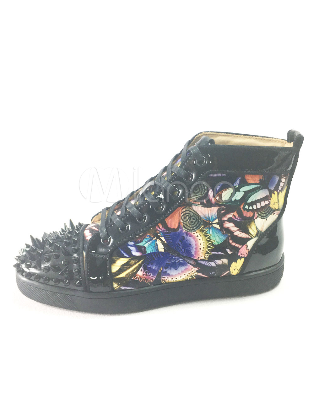 Buy Men's Black Sneakers Leather Round Toe Rivets Lace Up Printed Spike Shoes for $107.99 in Milanoo store