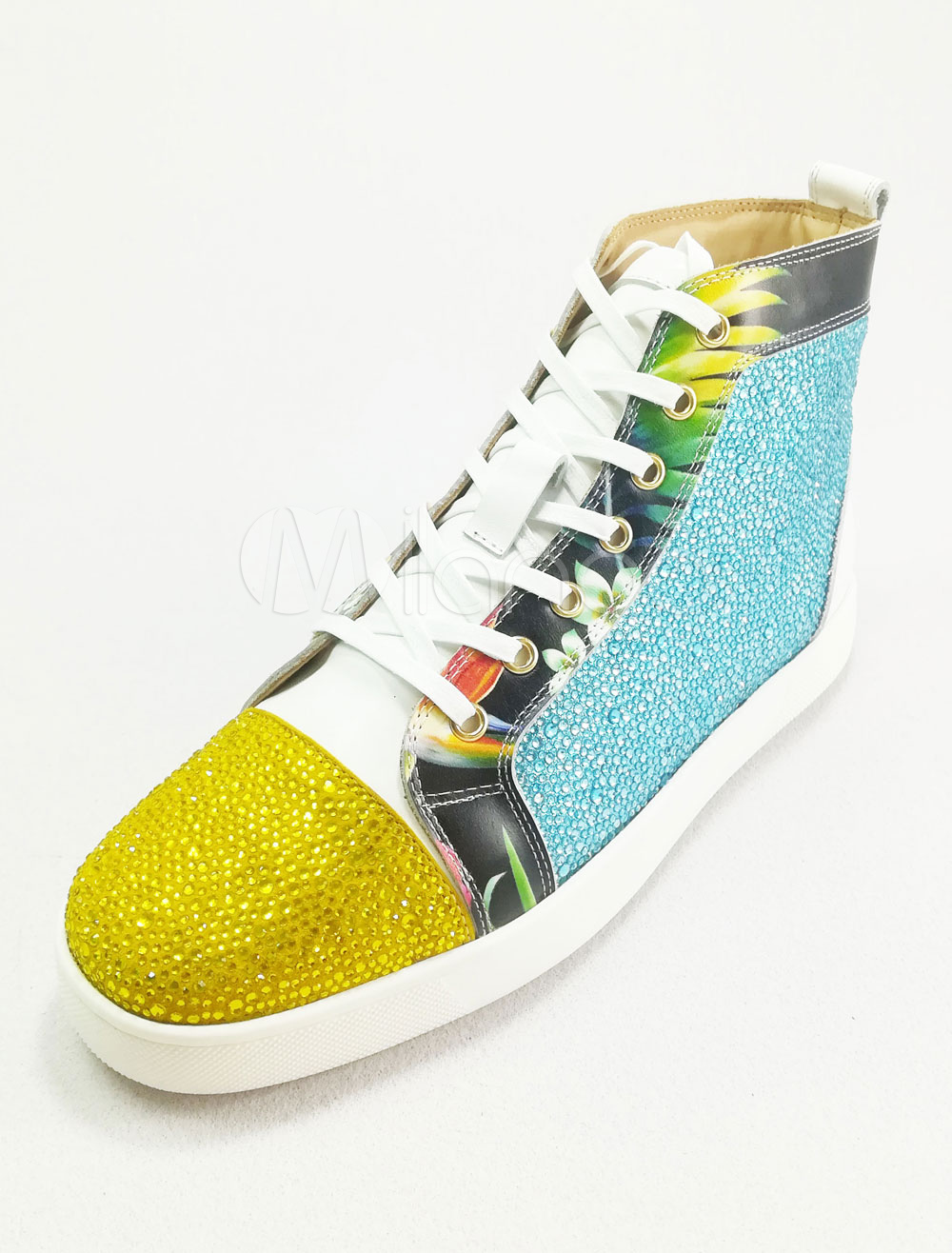 Men's Skate Shoes Leather Light Blue Round Toe Lace Up High Top Sneakers