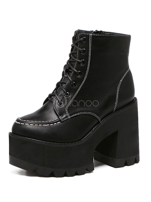 f6acaf79271e Black Women s Booties Lace Up Round Toe Chunky Heel PU Platform Ankle Boots -No.